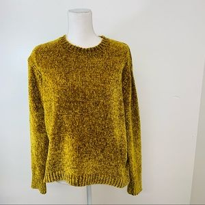 Sadie Sage Womans Sweater  M Pull Over Fuzzy  Soft  Long Sleeve Boxy Gold Orange